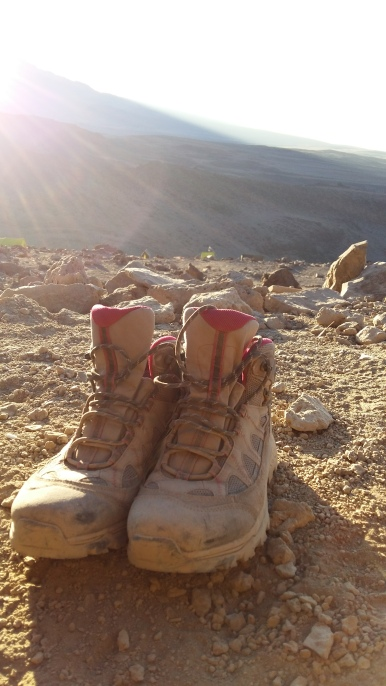 My hiking boots after the summit